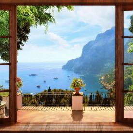 Fototapet Fresco, O priveliște de la fereastra maro spre lac și munți