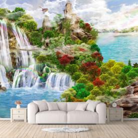 Fototapet Fresco, Peisajul montan frumos cu un lac și o cascadă