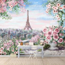 Fototapet Fresco, Vedere frumoasă de la balcon cu flori roz spre Paris