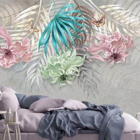 Fototapet, Frunze tropicale multicolore pe un fond sur