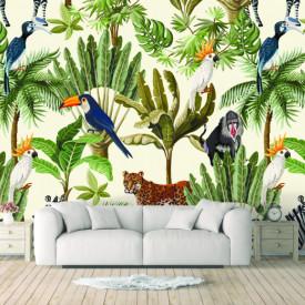 Fototapet, Imprimeu fără sudură a animalelor în junglă
