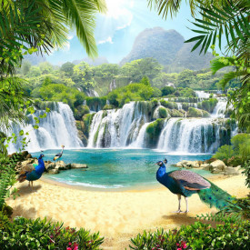 Fototapet, Insulă cu un păun albastru