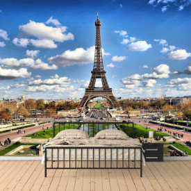 Fototapet Orase, Turnul Eiffel și cerul înorat