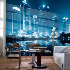 Fototapet, Orașul albastru în noapte
