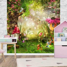 Fototapet pentru camera copiilor cu imaginea unei păduri din povești