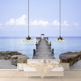 Fototapet, Podul de lemn de-a lungul oceanului