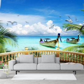 Fototapet, Priveliște de la fereastră spre ocean