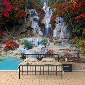 Fototapete 3D, Parcul cu o cascadă frumoasă