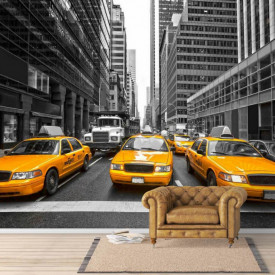 Fototapete Alb-Negru, Mașini galbene într-un oraș gri