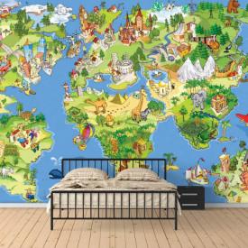 Fototapete, Harta lumii colorată pentru copii