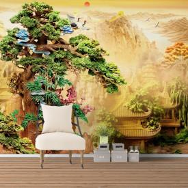 Fototapete, Parc chinezesc cu copac verde
