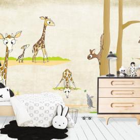 Fototapete Pentru Copii, Girafe și copaci pe un fond bej