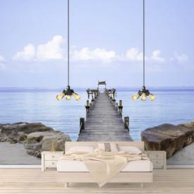 Fototapete, Pod de lemn de-a lungul oceanului în albastru