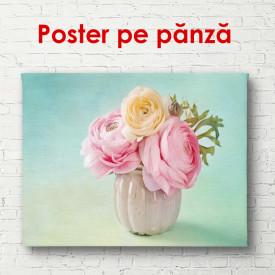 Poster, Buchet de flori roz pe un fond turcuaz