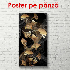 Poster, Compoziție cu frunze aurii pe un fundal negru