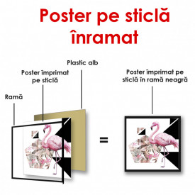 Poster, Flamingo roz pe un fundal abstract