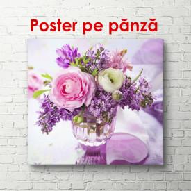 Poster, Flori violet într-o vază pe masă