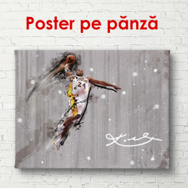 Poster, Jucătorul de fotbal abstract pe un fundal din lemn