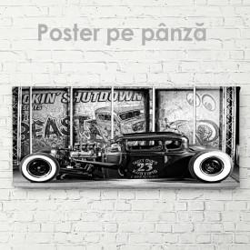 Poster, Mașină vintage alb-negru