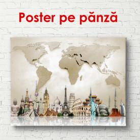 Poster, Obiective turistice din diferite țări pe hartă