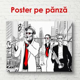 Poster, Saxofoniștii într-un oraș