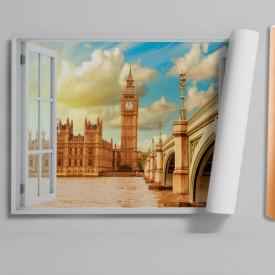 Stickere pentru pereți, Fereastra 3D cu vedere spre Turnul cu ceasul din Londra
