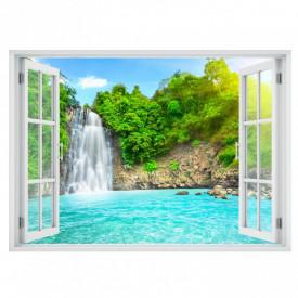 Stickere pentru pereți, Fereastra cu vedere spre o cascadă înconjurată de copaci verzi