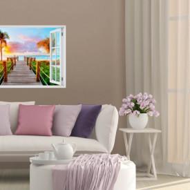 Stickere pentru pereți, Fereastra cu vedere spre o plajă cu palmieri la apus de soare