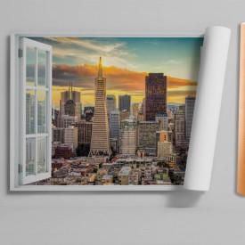 Stickere pentru pereți, Fereastra cu vedere spre un oraș la răsărit de soare