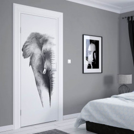 Stickerele decorative, pentru uși, Elefantul în culori alb-negru, 1 foaie de 80 x 200 cm
