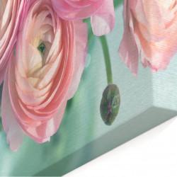 Tablou modular, Bujori roz pe fundal albastru.