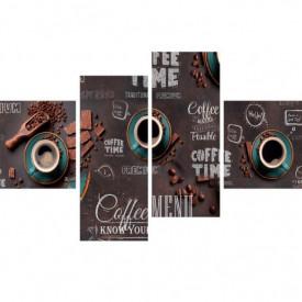 Tablou modular, Cană albastră cu cafea și boabe de cafea pe o tablă neagră