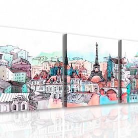 Tablou modular, Parisul în culori plăcute