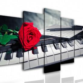 Tablou modular, Trandafirul roșu pe clapele pianului