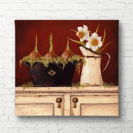 Tablouri Canvas, Sifonierul alb cu flori pe un fond maroniu