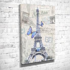 Tablouri Canvas, Turnul Eiffel cu fluturile albastre pe fond gri