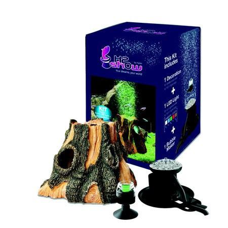 Decor acvariu H2Show - Kit cu lemn și mini-lampă LED verde