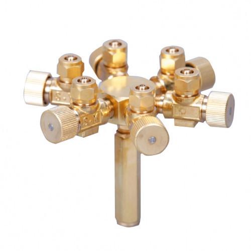 Robinet CO2/Aer, 6 cai, profesional, metal- Metal CO2/Air Flow Regulator -6ways
