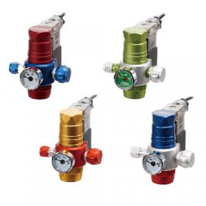 Reductor de presiune CO2,vertical,1 manometru, iesire butelie in sus, pentru butelie de aluminiu, albastru
