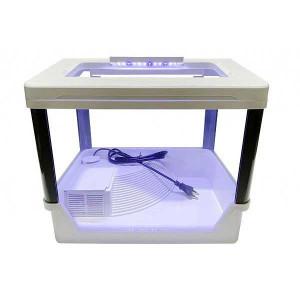 Acvariu broasca testoasa 35 cm cu lumina LED, filtru si platforma