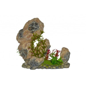 Decor acvariu roca cu plante