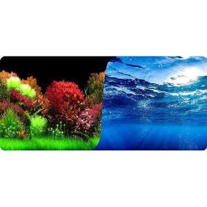 Tapet acvariu cu 2 fețe 40 cm X 100 cm model landscape olandez & albastru deep marin