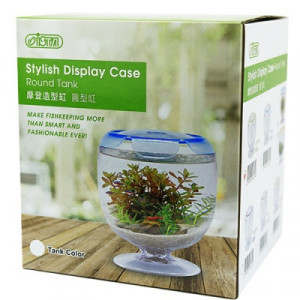 Acvariu acrilic Betta, rotund, albastru - Stylish Display Case-Round Tank Blue