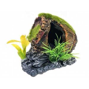Ornament butoi pentru acvariu cu moss si plante artificiale