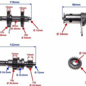 Set angrenaj cutia de viteze ATV 110cc