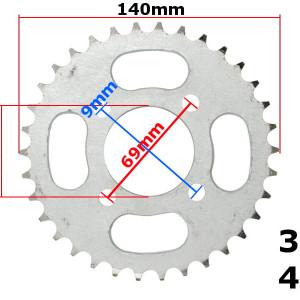 Pinion spate ATV 110cc, 34 dinti, 420 - 34T