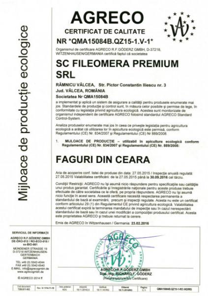 Faguri Bio/ecologici Fileomera - cutie 5 kg, pt rame 1/1