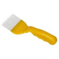 Furculiță pentru descăpăcit dinti din fier - maner galben plin
