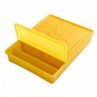 Hranitor dreptunghiular din plastic 1300 ml - culoare galbena