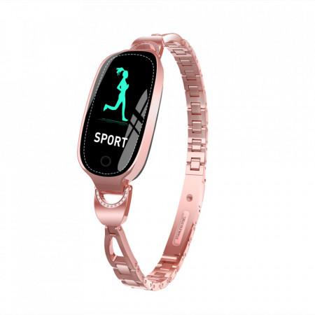 Bratara fitness smart dama F18RG, memento perioada menstruala, ritm cardiac, padometru, iOS si Android, Bluetooth 4.0